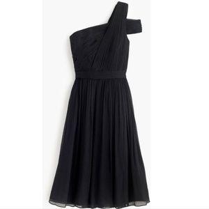 NWT J. Crew Cara dress in silk chiffon in black